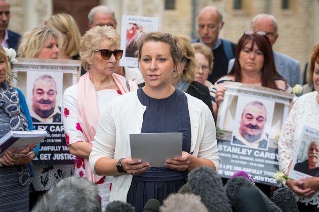 Bridget Reeves, pictured centre, spoke last year about how relatives had been denied 'their final words'...