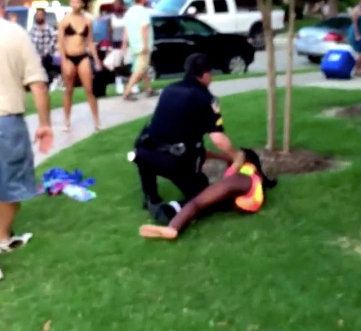 A video taken in June 2015 shows police officer Eric Casebolt taking down 15-year-old Dajerria Becton outside a pool party in McKinney, Texas. Last month, Becton, now 18, was awarded a $184,850 settlement for the episode.