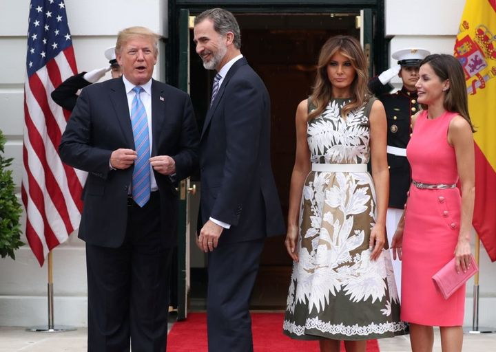 President and Melania Trump are spending time with  King Felipe VI and Queen Letizia at the White House.