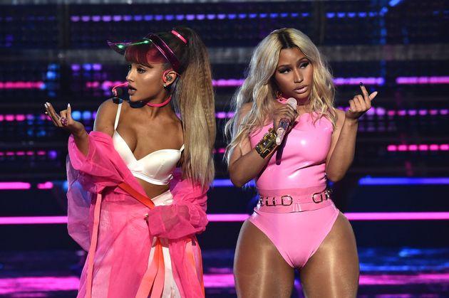 Ariana Grande and Nicki Minaj perform onstage during the 2016 MTV Video Music