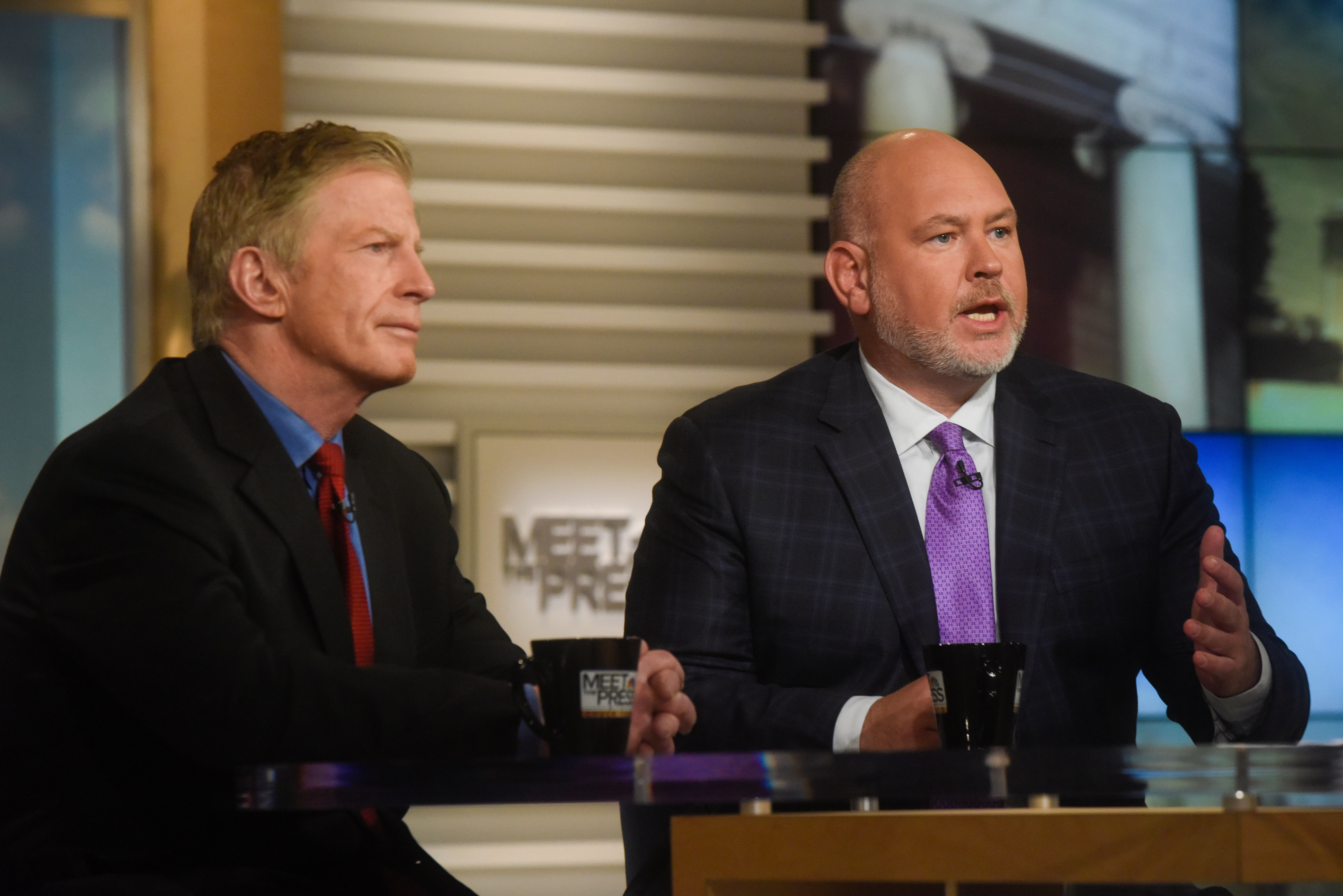 MEET THE PRESS -- Pictured: (l-r) ? Stuart Stevens, Former Strategist, 2012 Romney Presidential Campaign, left, and Steve Schmidt, MSNBC Contributor; Former Strategist, 2008 McCain Presidential Campaign, right, appear on 'Meet the Press' in Washington, D.C., Sunday March 20, 2016.  (Photo by: William B. Plowman/NBC/NBC NewsWire via Getty Images)