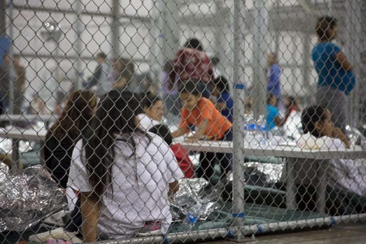 People who have crossed the border are being kept in cages like the one above.