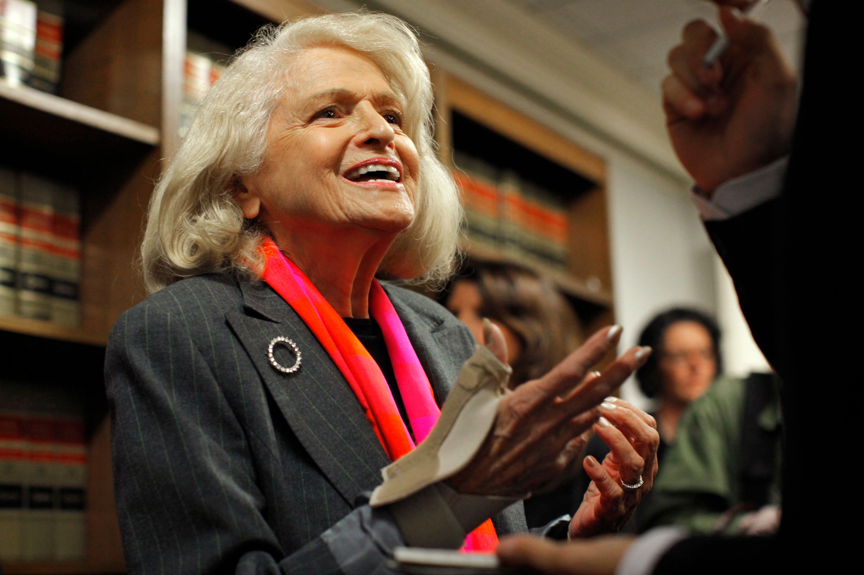 Edith Windsor, an 83-year-old woman who says the Defense of Marriage Act discriminates against gay couples in violation of the U.S. Constitution, speaks to the media during a news conference in New York October 18, 2012. A U.S. appeals court in New York on Thursday ruled that a U.S. law defining marriage as a union between a man and a woman unconstitutionally denies federal benefits to lawfully married same-sex couples. REUTERS/Eduardo Munoz (UNITED STATES - Tags: POLITICS SOCIETY)