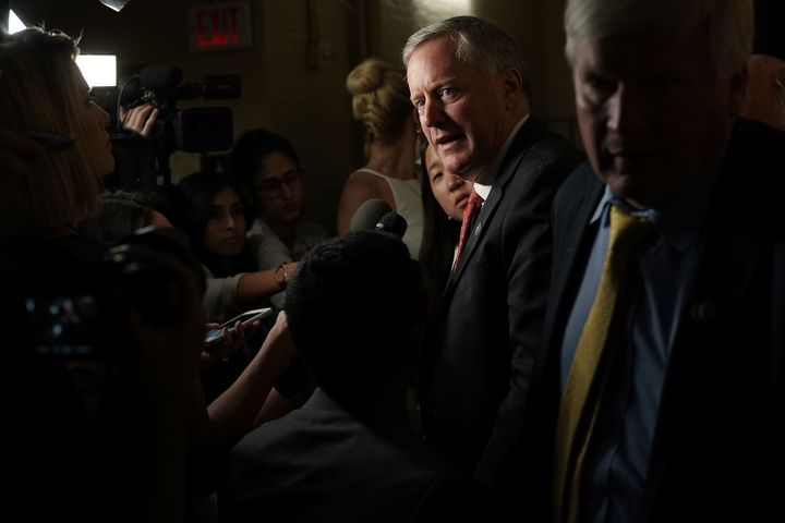 Rep. Mark Meadows (R-N.C.), chairman of the conservative House Freedom Caucus, speaks to reporters about immigration Wednesda