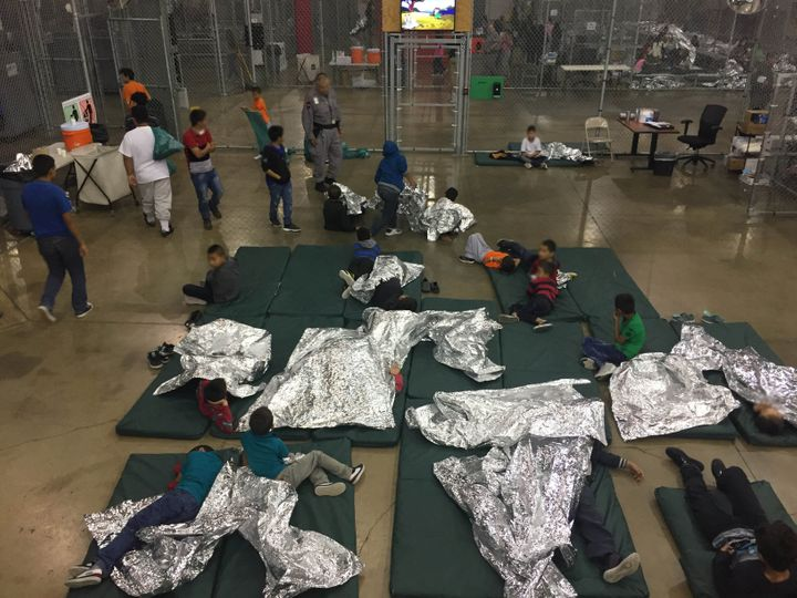 A view of inside a U.S. Customs and Border Protection detention facility shows children at Rio Grande Valley Centralized Proc