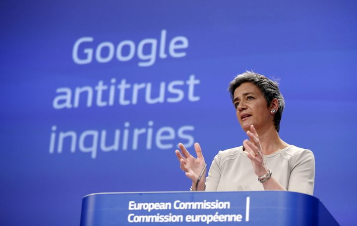 European Competition Commissioner Margrethe Vestager addresses a news conference in April 2015 about her antitrust investigat