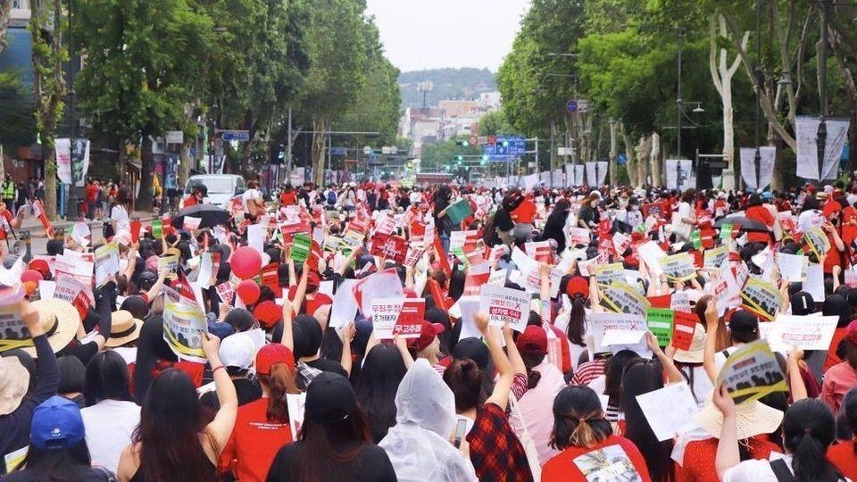 지난 6월9일 서울 지하철 4호선 혜화역 인근에서 열린 '2차 불법촬영 편파수사 규탄 시위'