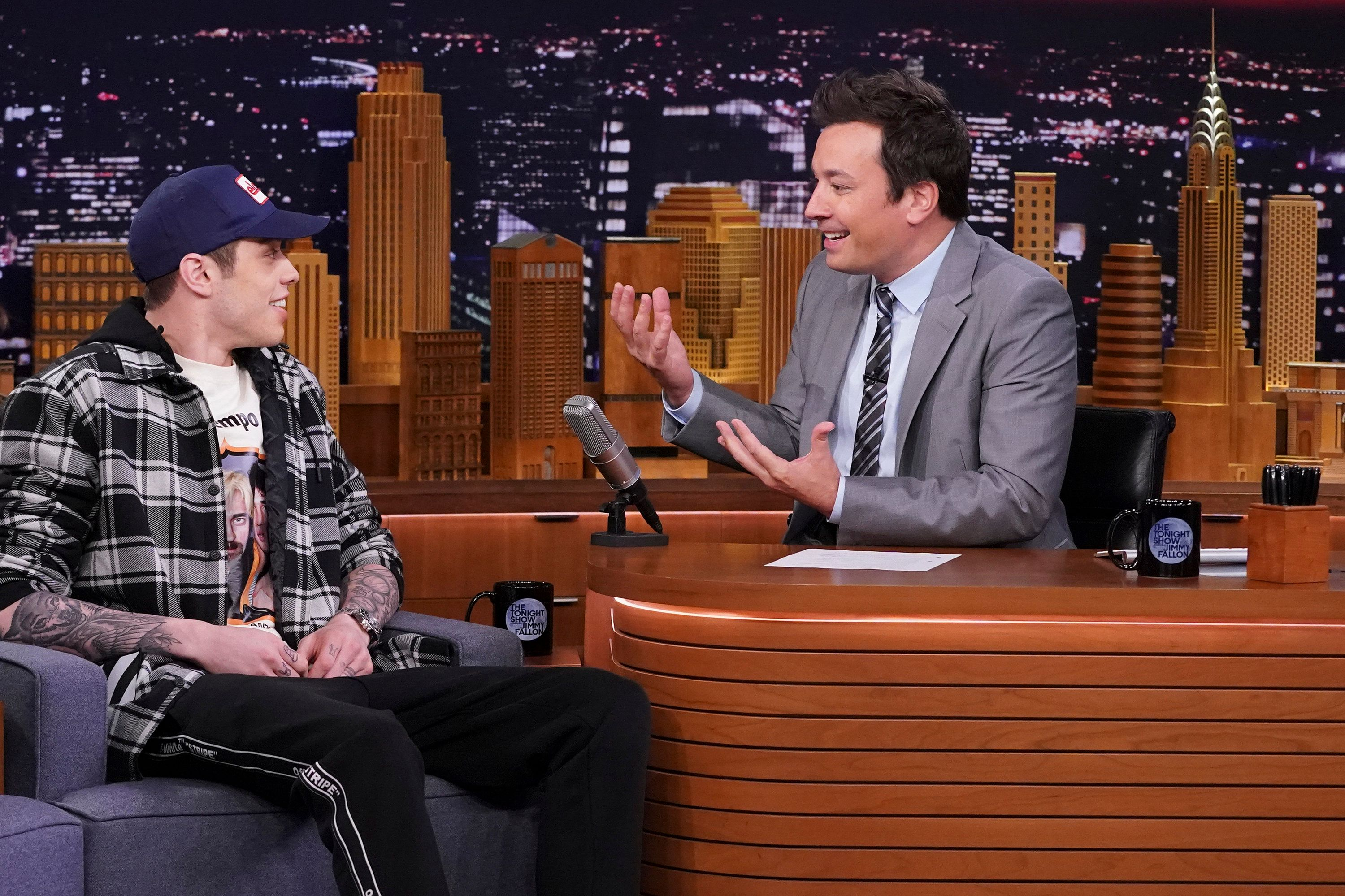 THE TONIGHT SHOW STARRING JIMMY FALLON -- Episode 0888 -- Pictured: (l-r) Comedian Pete Davidson during an interview with host Jimmy Fallon on June 20, 2018 -- (Photo by: Andrew Lipovsky/NBC/NBCU Photo Bank via Getty Images)