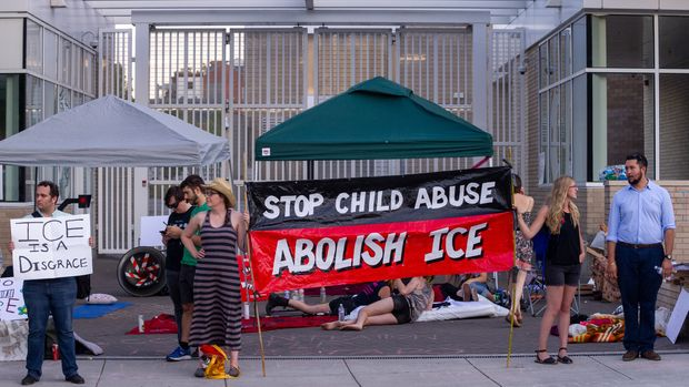 PORTLAND, CA - JUNE 19: Banners and signs condemning ICE treatment of children during the 'Zero Tolerance' policy at OccupyICEPDX, just in front of the ICE Portland Headquarters in SW Maccadam on June 19, 2018, in Portland, OR. (Photo by Diego G Diaz/Icon Sportswire via Getty Images)