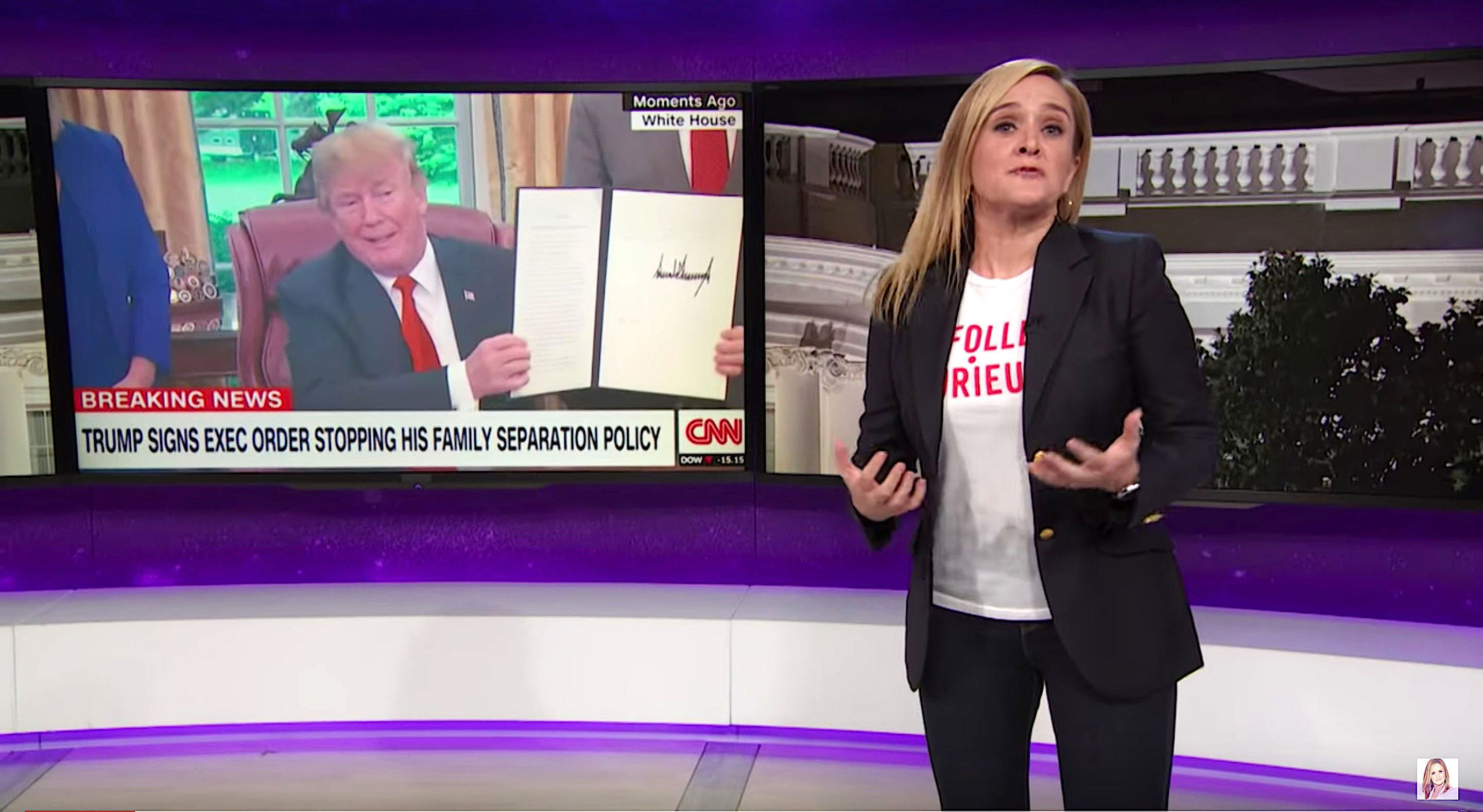 Samantha Bee of Full Frontal says the government has replaced the worst thing with the second worst thing