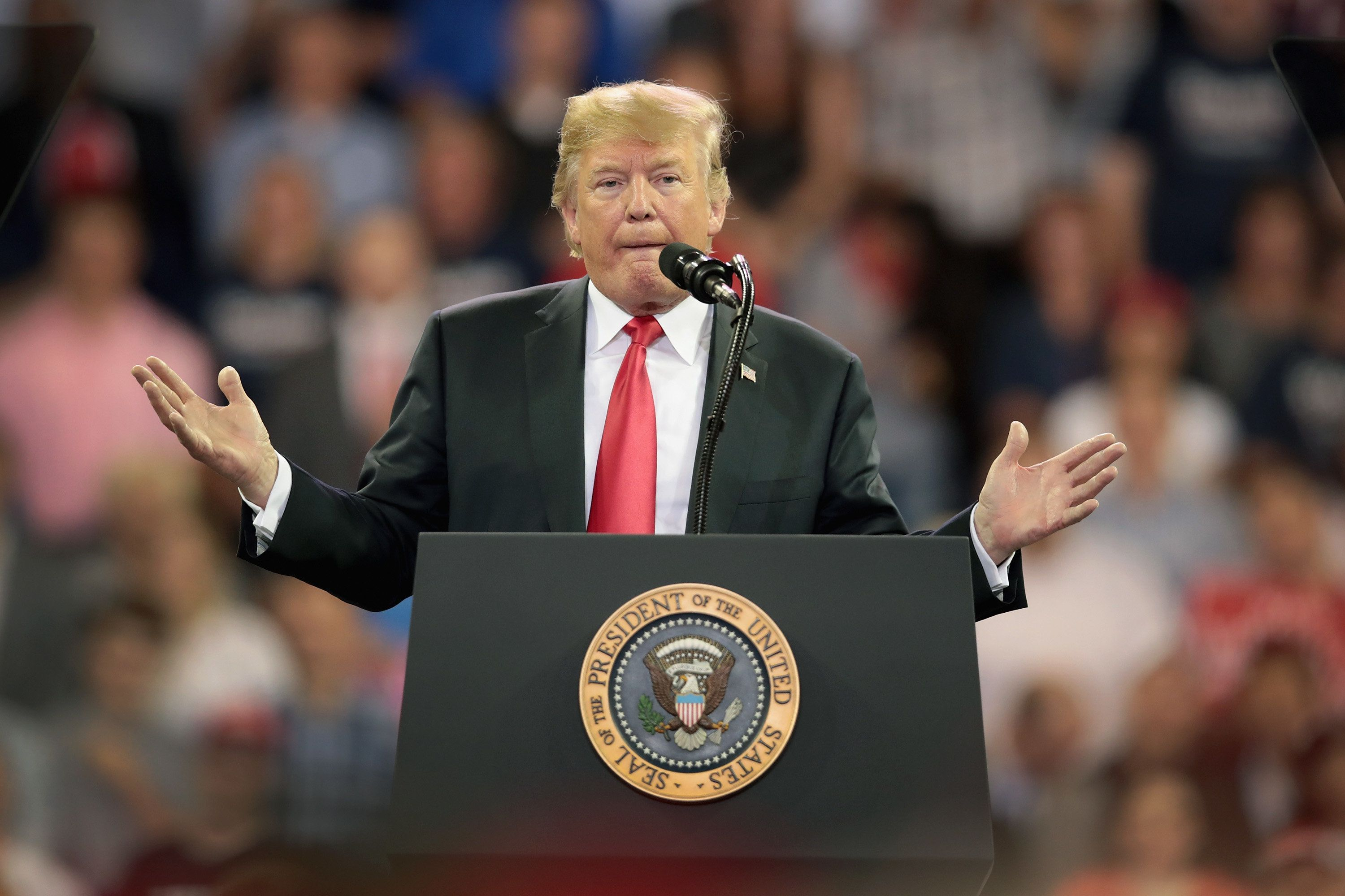 DULUTH, MN - JUNE 20:  President Donald Trump speaks to supporters during a campaign rally at the Amsoil Arena on June 20, 2018 in Duluth Minnesota. Earlier today President Trump signed an executive order to keep undocumented families together as outcry continued to grow over the policy of separating children from their parents when they're caught crossing the U.S. border from Mexico.  (Photo by Scott Olson/Getty Images)
