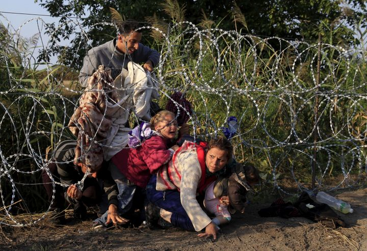 Syrian migrants cross under a fence as they enter Hungary at the border with Serbia on Aug. 27, 2015.