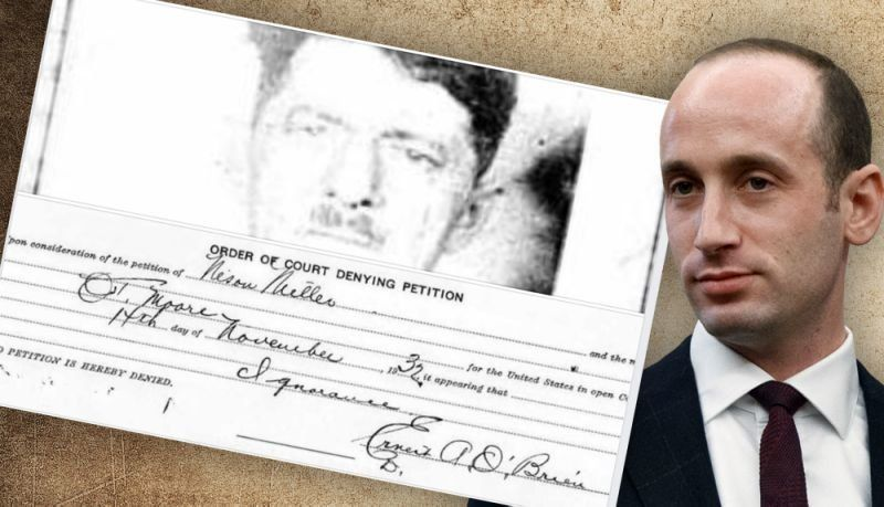 Stephen Miller is shown with the document denying citizenship to his great-grandfather Nison Miller