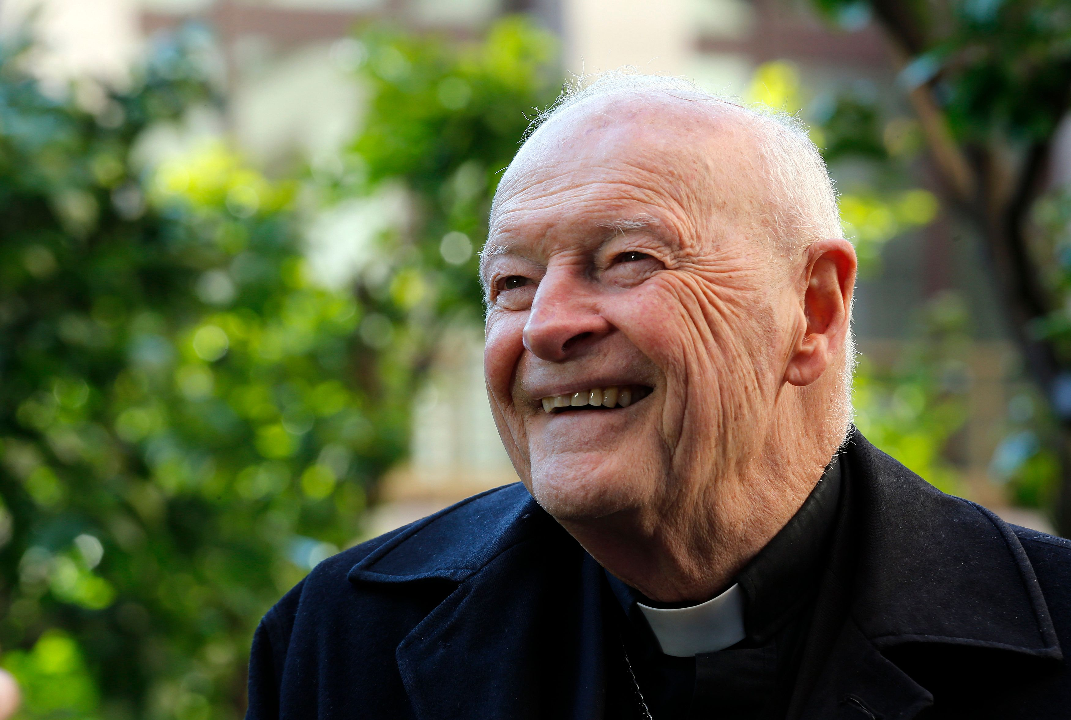 Cardinal Theodore Edgar McCarrick smiles during an interview with Reuters at the North American College at the Vatican Februa
