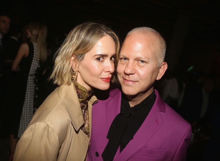 Paulson and Ryan Murphy pose at a Broadway afterparty. Paulson says Murphy creates a collaborative workplace for women.
