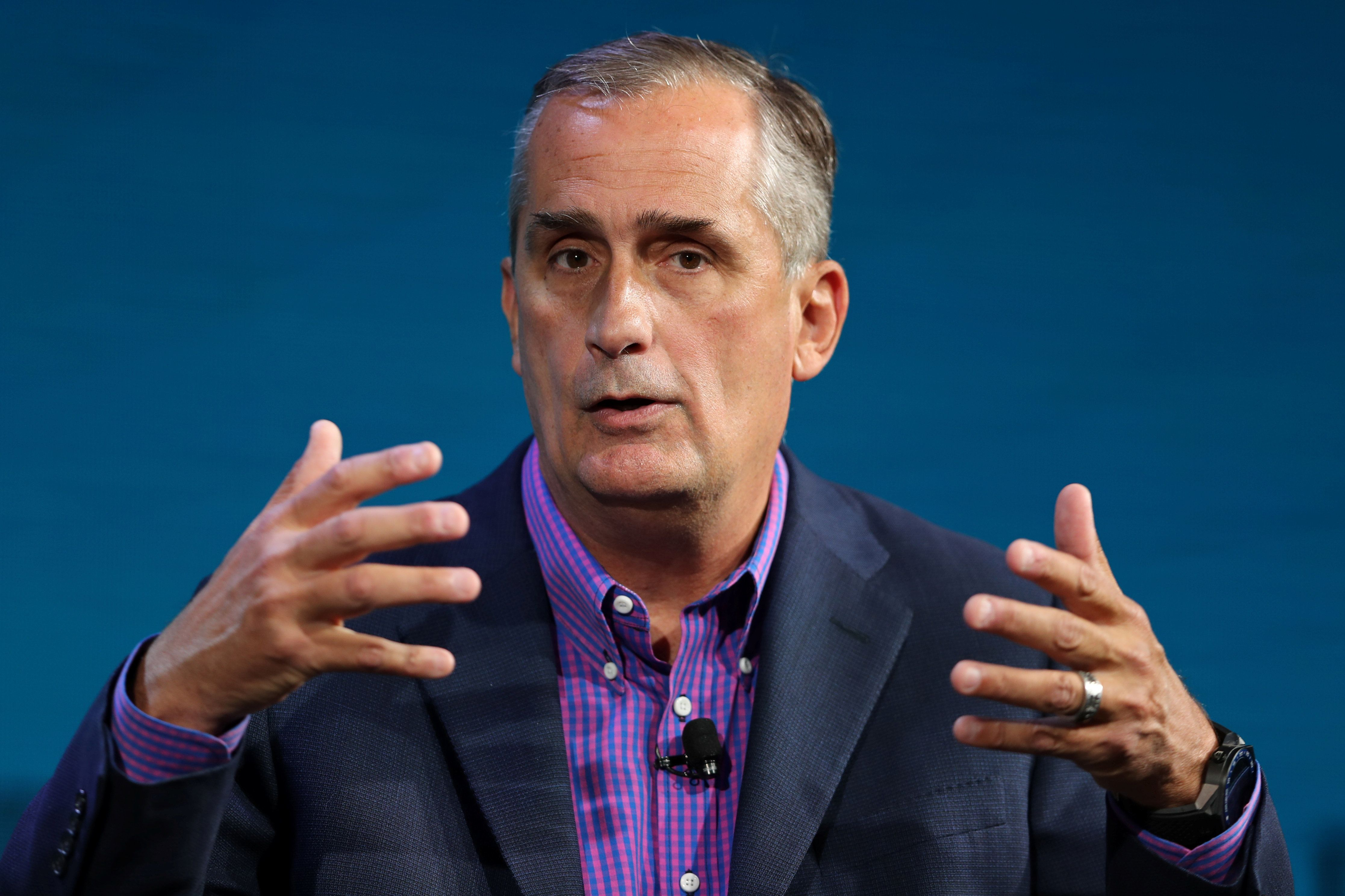 Brian Krzanich CEO of Intel speaks at the Wall Street Journal Digital conference in Laguna Beach, California, U.S., October 17, 2017. REUTERS/Mike Blake