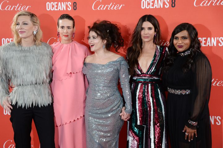 "From left: Cate Blanchett, Sarah Paulson, Helena Bonham Carter, Sandra Bullock and Mindy Kaling attend the ""Ocean's 8"" U.K. p"