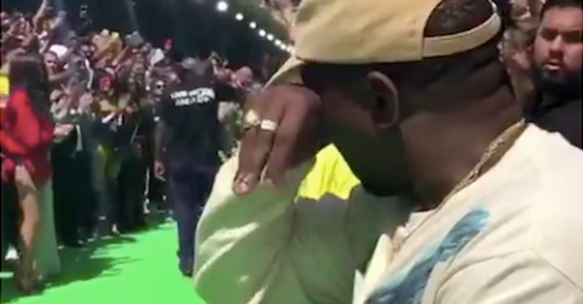 Kanye West Sobs In Front Row At Louis Vuitton Fashion Show