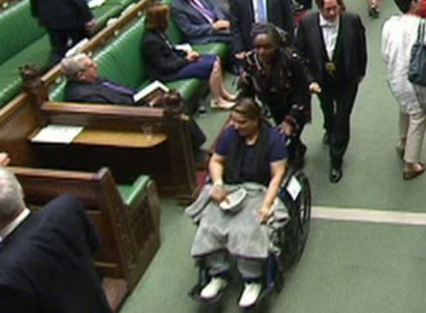 Naz Shah was pushed through the lobby in a wheelchair with injuries caused by a hit and run