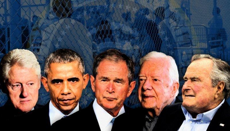 Former Presidents, from left, Bill Clinton, Barack Obama, George W. Bush, Jimmy Carter and George H.W. Bush.