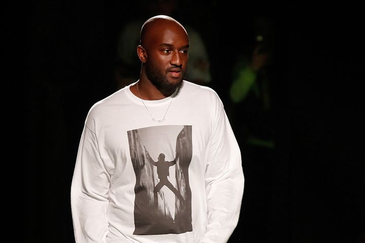 Virgil Abloh appears at the end of his Spring/Summer 2019 collection for his fashion label Off-White.