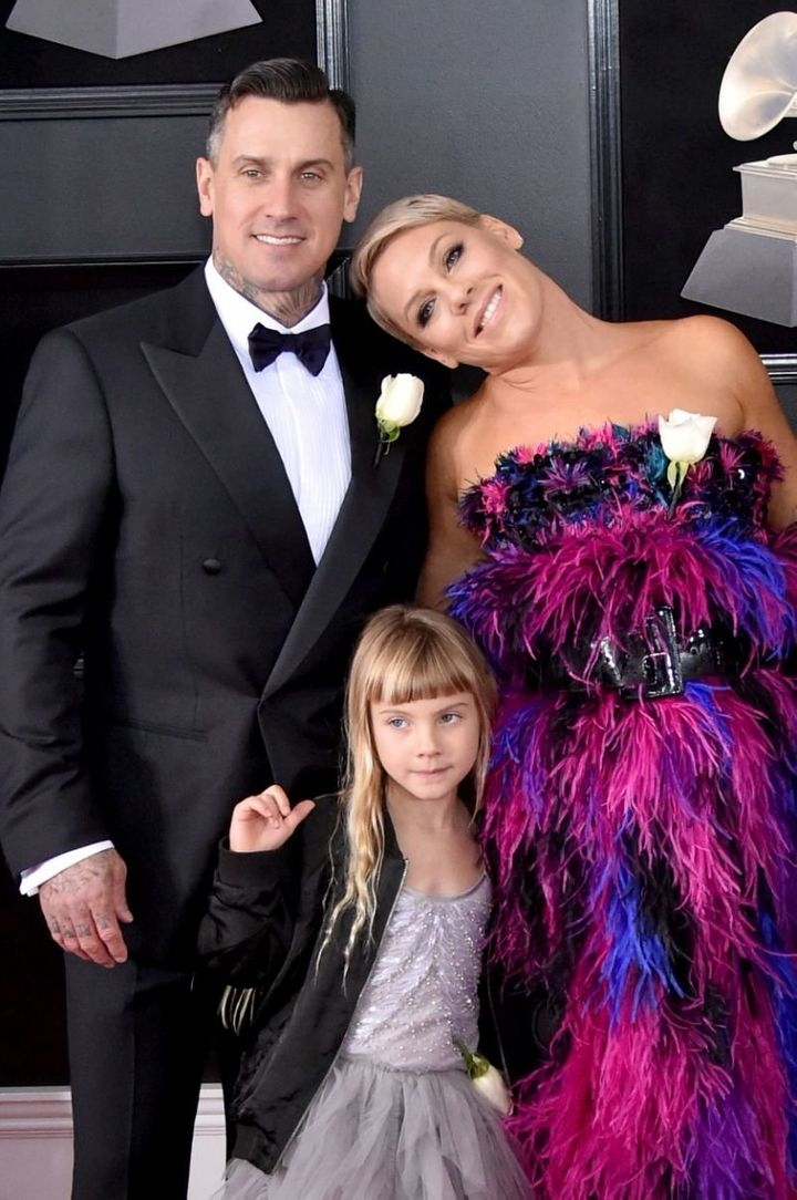 Carey Hart, Pink, and daughter Willow Sage at the 2018 Grammys.