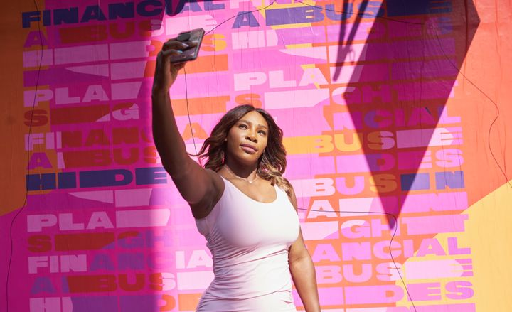 Serena Williams unveils the first in a series of murals that include hidden messages about financial abuse, in New York