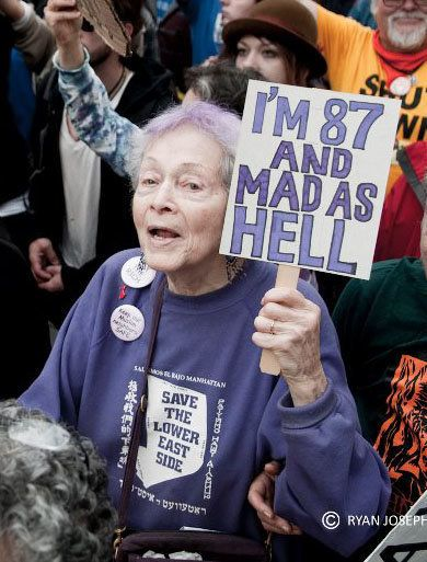 Frances Goldin at an Occupy Wall Street protest.