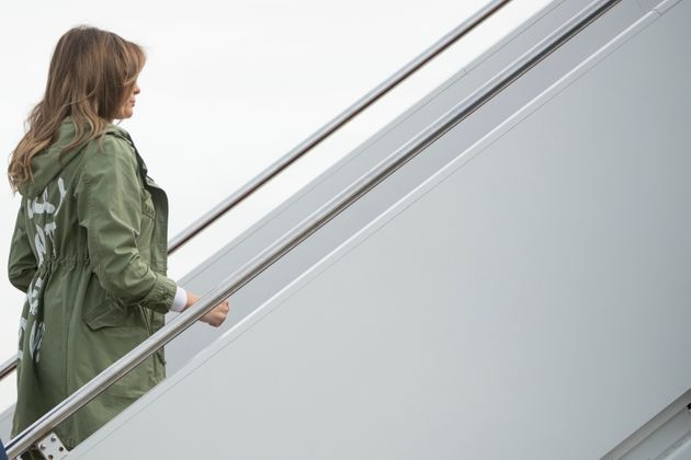 First lady Melania Trump boards a plane at Andrews Air Force Base in Maryland on June