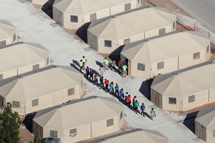 Immigrant children are being housed in tents in Tornillo, Texas, near the Mexican border on June 18.