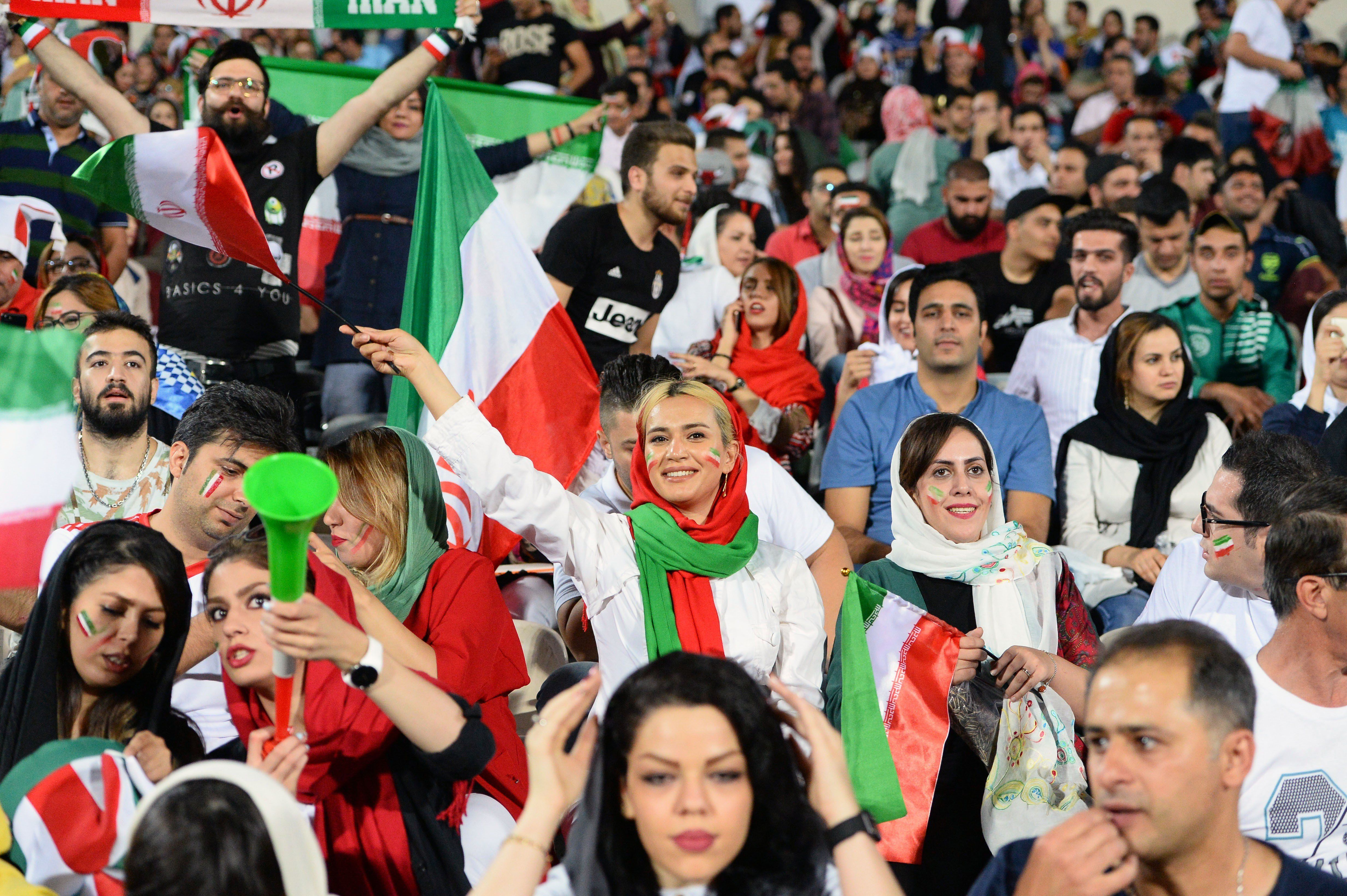 TEHRAN, IRAN - JUNE 20: Fans gather for a public viewing event at Azadi Stadium in Tehran, Iran on June 20, 2018 to watch the 2018 FIFA World Cup Russia Group B match between Iran and Spain. (Photo by Fatemeh Bahrami/Anadolu Agency/Getty Images)