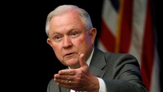 U.S. Attorney General Jeff Sessions delivers remarks at a National Sheriffs' Association opioid roundtable in Washington, U.S., May 3, 2018.  REUTERS/Jonathan Ernst