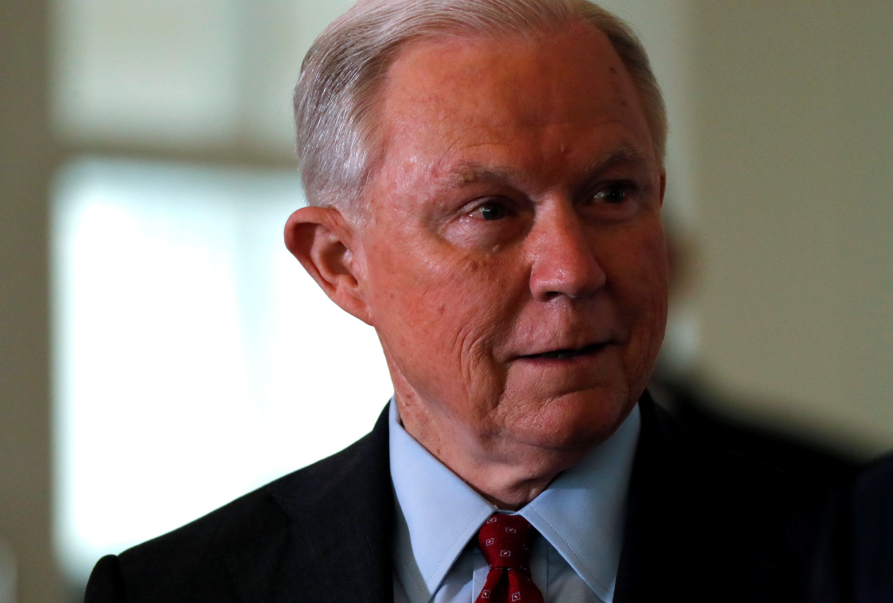 U.S. Attorney General Jeff Sessions arrives to announce a new Justice Department initiative on religious liberty at the Orthodox Union Advocacy Center's Annual Leadership Mission to DC in Washington, U.S., June 13, 2013.  REUTERS/Jim Bourg
