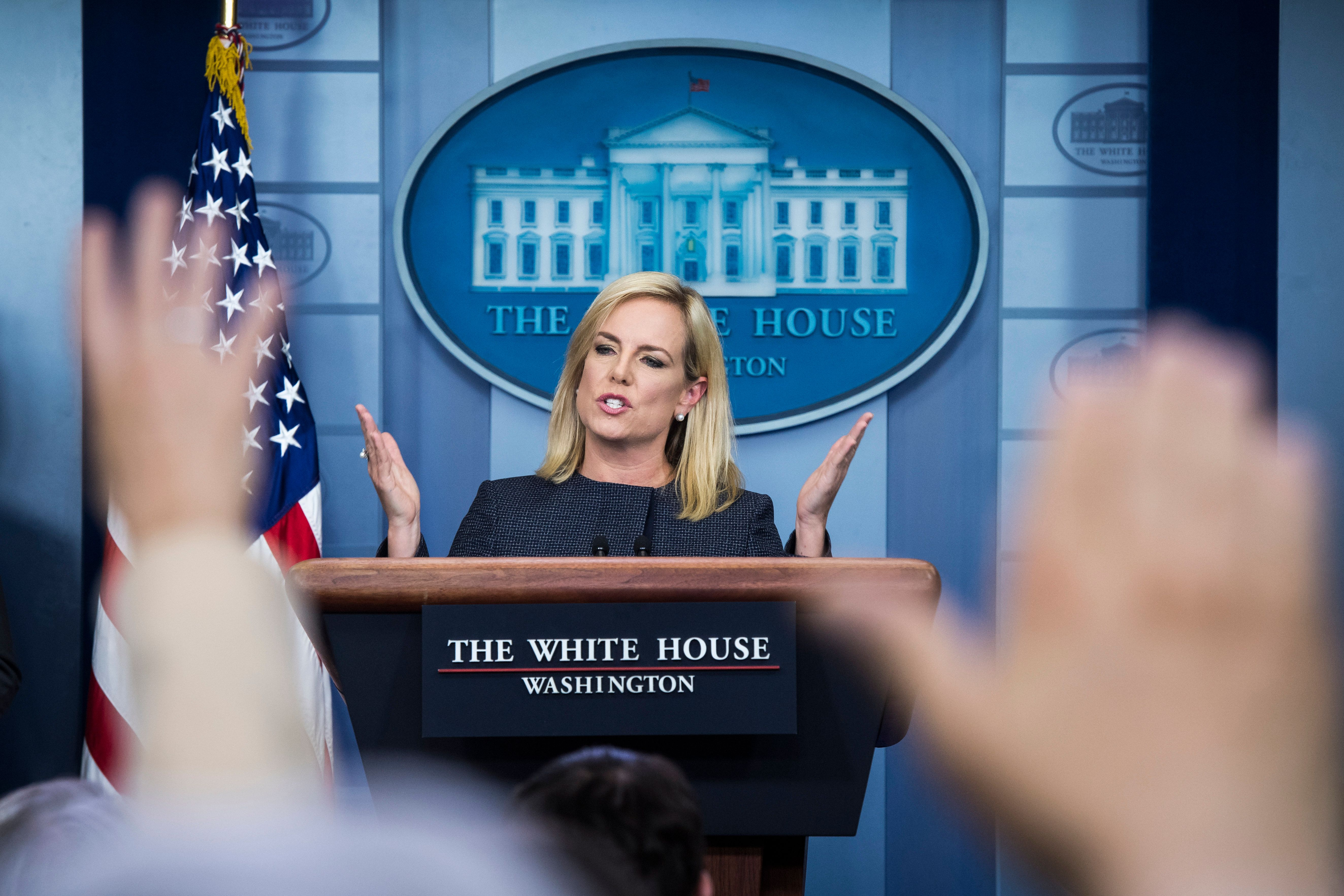 WASHINGTON, DC - JUNE 18 : Secretary of Homeland Security Kirstjen Nielsen speaks during a news briefing at the White House on Monday, June 18, 2018 in Washington, DC. (Photo by Jabin Botsford/The Washington Post via Getty Images)