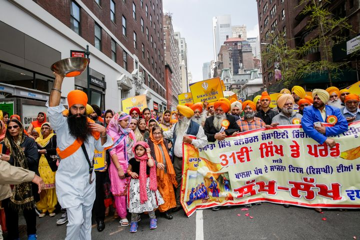 Participants take part in the Annual Sikh Day Parade in Manhattan on April 28.