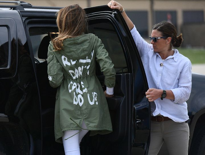 First lady Melania Trump returns from her visit to immigrant children on the Mexico border on June 21.