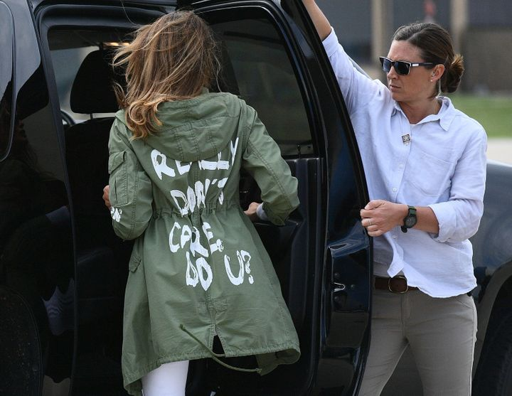 Melania Trump wore this jacket as she departed Andrews Air Force Base in Maryland.