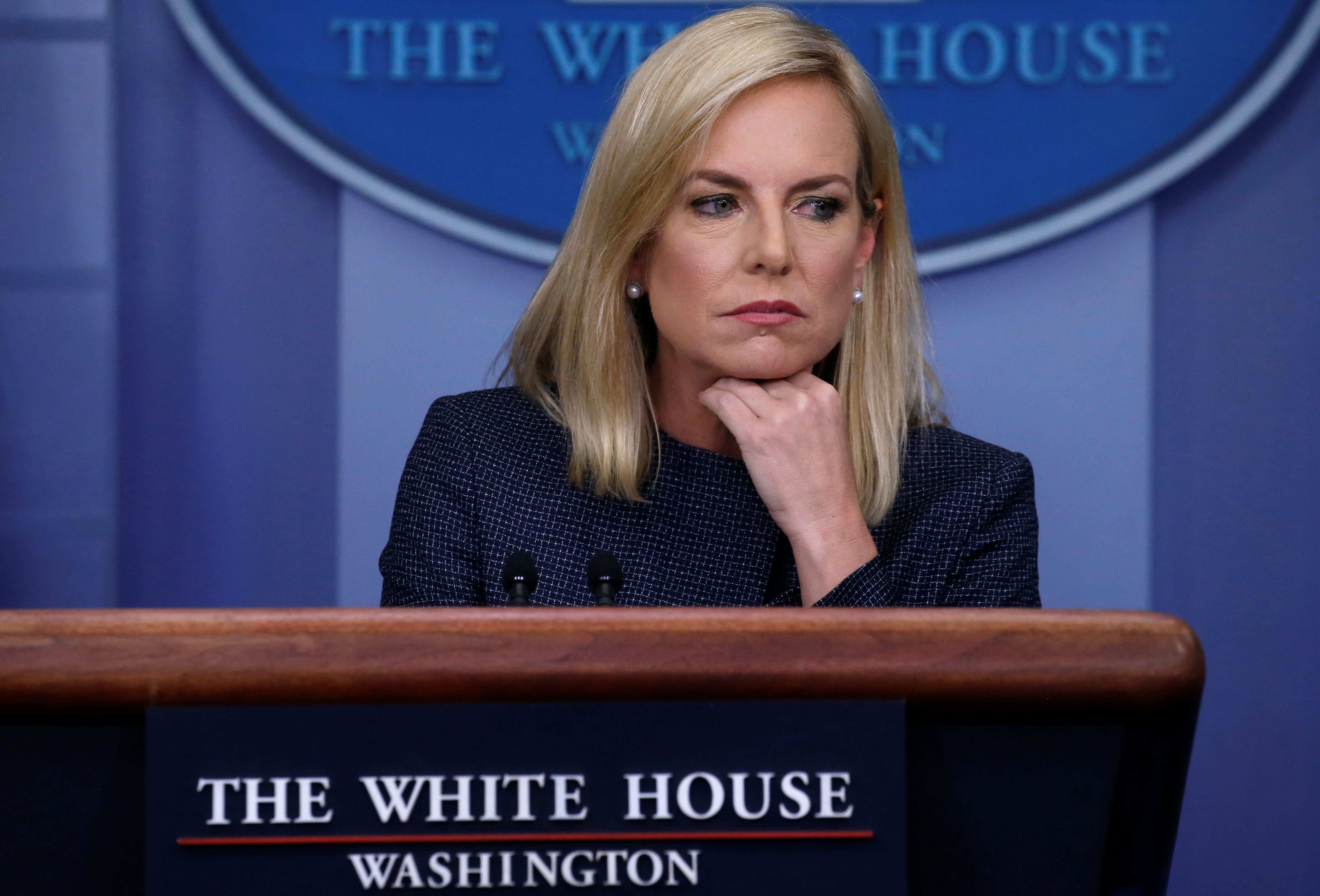 U.S. Homeland Security Secretary Kirstjen Nielsen answers questions during the daily briefing at the White House in Washington, D.C., U.S., June 18, 2018. REUTERS/Leah Millis