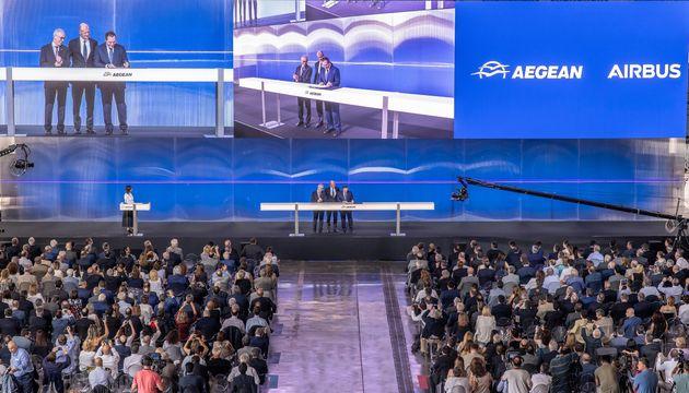 «Έκλεισε» και επίσημα η συμφωνία AEGEAN- Airbus για παραγγελία έως 42 αεροσκαφών A320neo, αξίας 5