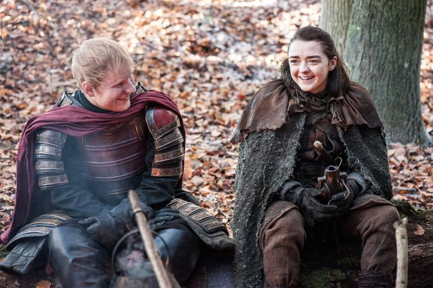 "Ed Sheeran and Maisie Williams in ""Game of Thrones."" She was happy to see him, at"