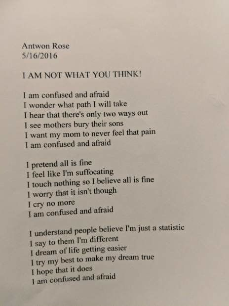 A poem written by Antwon Rose Jr. two years ago. A police officer fatally shot him as he ran from a traffic stop in