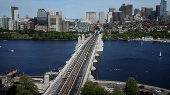 CAMBRIDGE, MA - MAY 31: The Longfellow Bridge is seen from the Microsoft NERD Center (New England Research and Development) on Memorial Drive in Cambridge, MA on May 31, 2018. After five years of construction, frustration, and disruption, the Longfellow Bridge reopened at 5 a.m. Thursday, following a $300 million rebuilding project. The bridge had been mostly shut down since 2013, limiting traffic to just one lane inbound to Boston, while barring cars headed outbound to Cambridge. MBTA Red Line trains that cross the Charles River on the bridge were replaced by shuttle buses on numerous weekends over the years. (Photo by Craig F. Walker/The Boston Globe via Getty Images)
