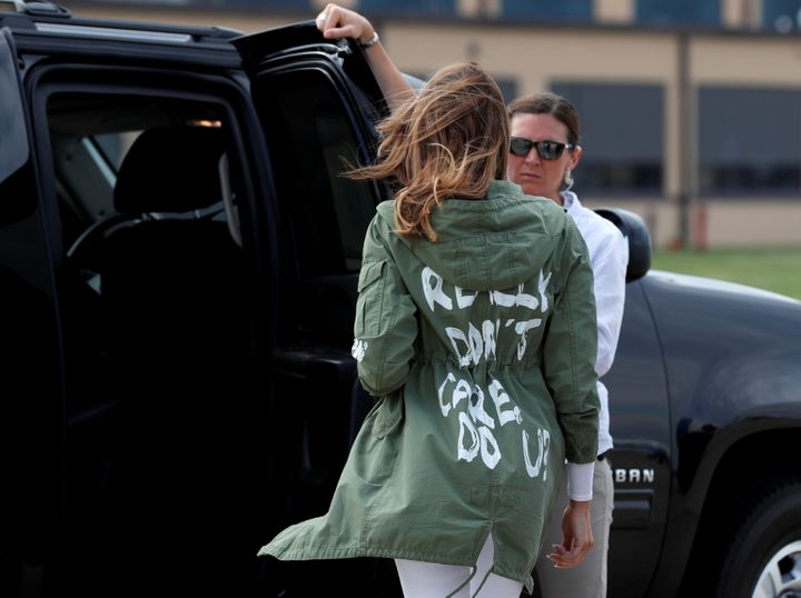 "First lady wears a jacket that says, ""I REALLY DON'T CARE, DO U?"" as she returns from visiting the U.S.-Mexico border on Thursday."