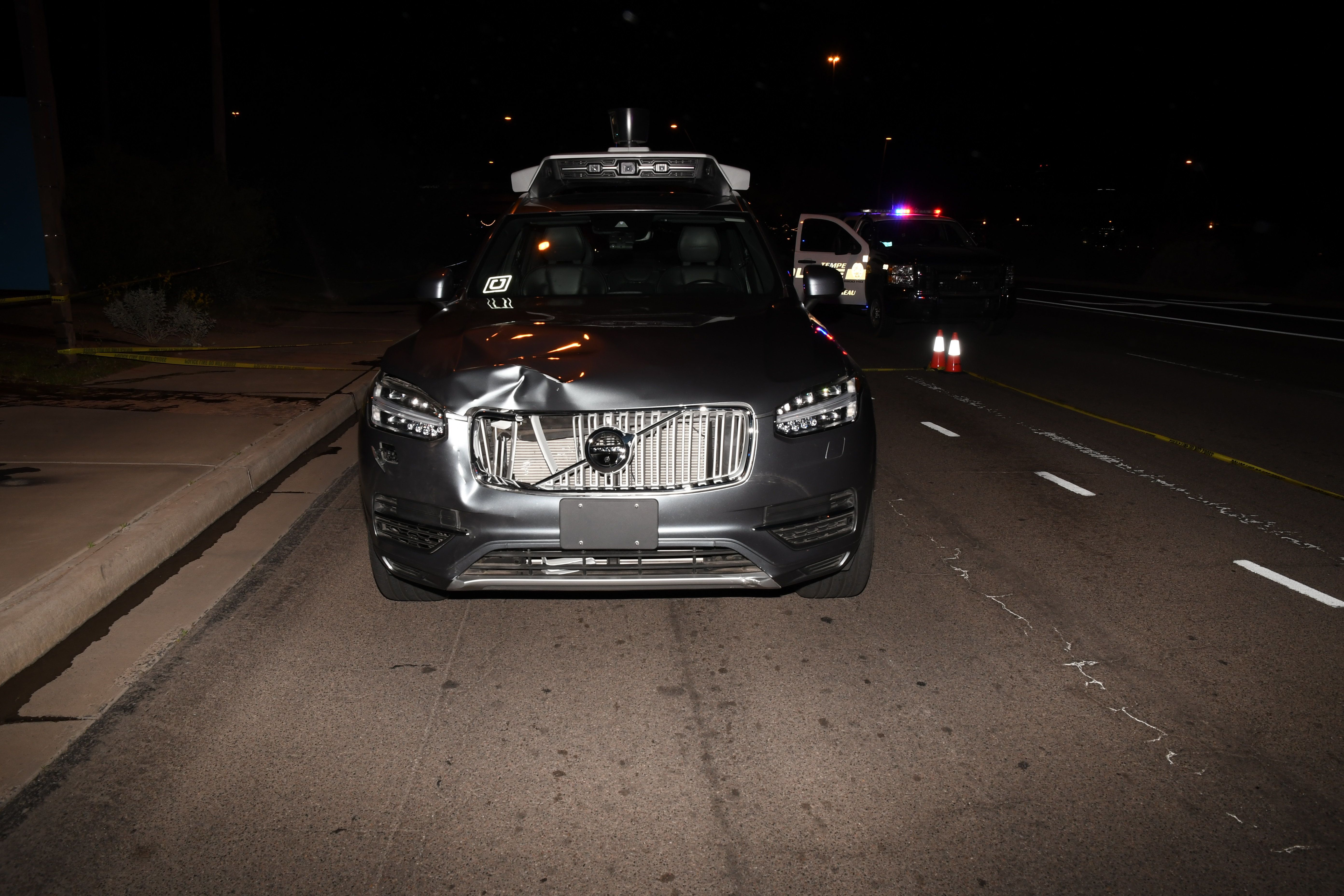 A photo of the self-driving Uber SUV in Tempe immediately following the fatal accident in March.