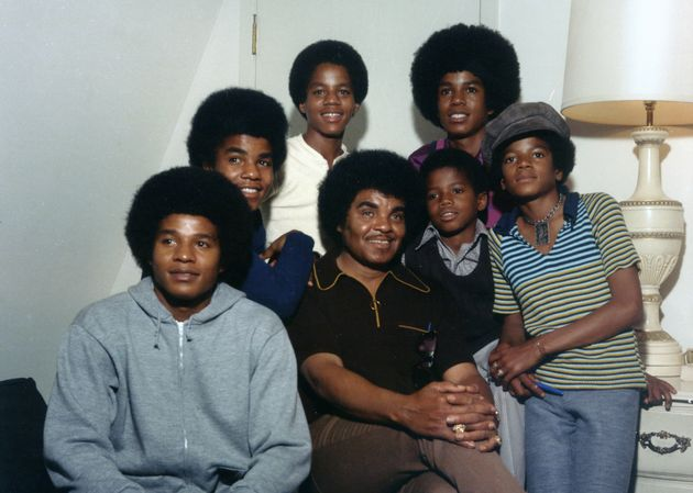 Clockwise from bottom left: Jackie, Tito, Marlon, Jermaine, Michael, Randy and Joe Jackson pictured soon...
