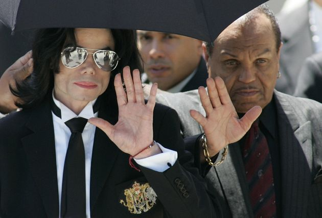 Michael Jackson and father Joe leave the Santa Barbara County courts after Michael was acquitted on all...