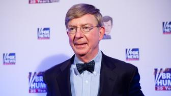 WASHINGTON - JANUARY 08: Conservative newspaper columnist George Will poses on the red carpet upon arrival at a salute to FOX News Channel's Brit Hume on January 8, 2009 in Washington, DC. Hume was honored for his 35 years in journalism. (Photo by Brendan Hoffman/Getty Images)