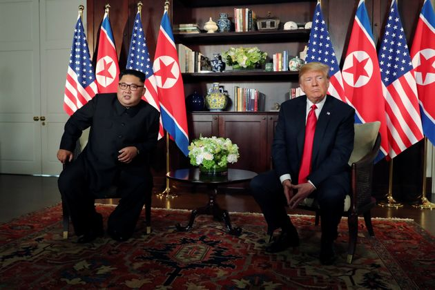 US President Donald Trump and North Korea's leader Kim Jong Un meet in a one-on-one bilateral session...