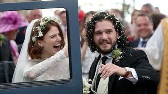 Kit Harington and Rose Leslie at Rayne Church, Kirkton of Rayne in Aberdeenshire, after their wedding. (Photo by Jane Barlow/PA Images via Getty Images)