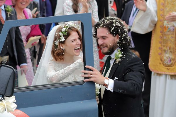 Kit Harrington and Rose Leslie departing Rayne Church in Kirkton on Rayne after their wedding on June 23, 2018 in Aberdeen, S